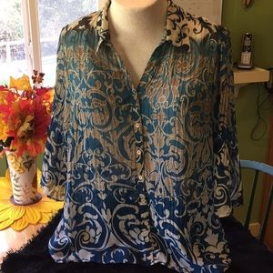 Paisley crinkle fabric blouse
